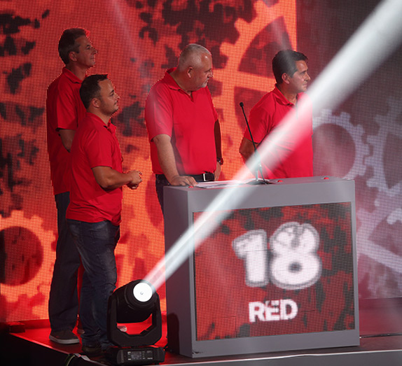 Contestants playing the game